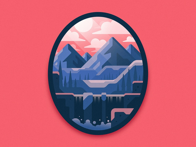 Wilderness Badge oval circle clouds design waterfall trees mountains mountain outdoors outside wilderness illustration badge patch