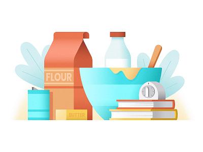 Gretchen's Cookbook Illustration vector illustrate book cookbook baking cooking plants butter salt timer books bowl milk flour food kitchen illustration