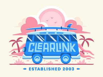 Clearlink Spring Merch utah clearlink driving hot sunshine sunny warm drive illustration old fish sand surfing surf clouds trees palm beach summer van