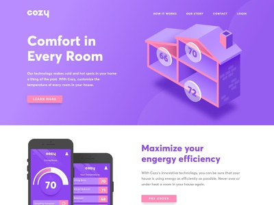 Cozy App Landing Page illustration page web iphone app thermostat home house landing isometric product user experience user interface ux ui