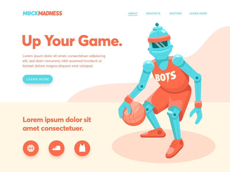 Mock Madness Landing Page ui ux landing march march madness mock madness robot basketball