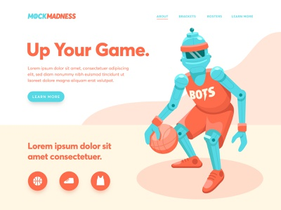 Mock Madness Landing Page ui ux landing march march madness mock madness robot basketball