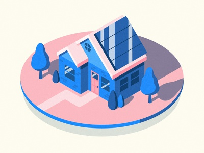 Solar Home panels panel illustrator smart trees home house isometric solar illustration energy