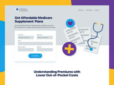 Affordable Medicare Exploration page health healthcare ux ui illustration insurance stethoscope doctor medicare medical fields form landing