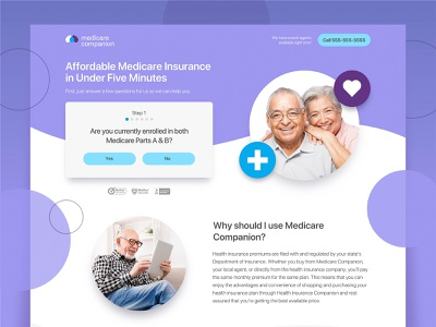 Medicare Comp Landing design web medicare ux ui step form elderly medical page landing