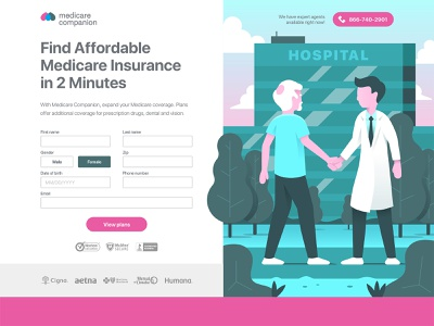 Medicare Form Landing Page elderly old ux ui form medicare medical handshake hospital doctor illustration page landing