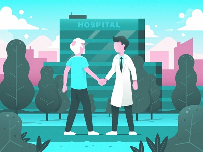 Hospital Scene handshake medicare clouds trees illustration man elderly dr doctor medical hospital