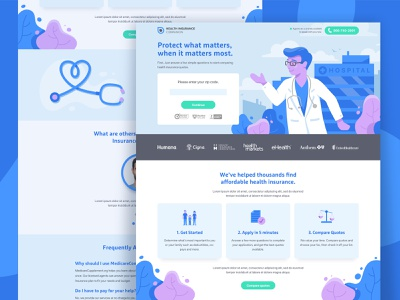 Health Insurance Companion hospital coverage stethoscope insurance landing page landing illustration dr doctor health