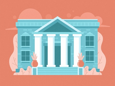 Bank Illustration architecture roman money trees plants illustration building columns column bank