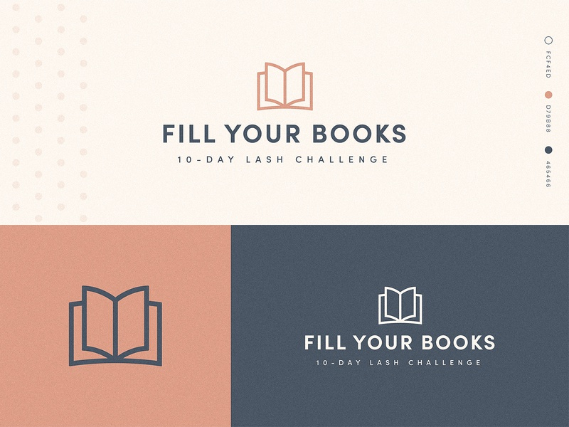 Fill Your Books Course Logo eyelashes lashes beauty design typography books book branding brand logo