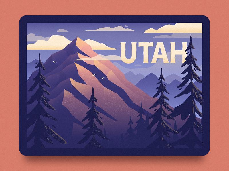 Utah Illustration texture patch badge outdoors outdoor wilderness trees mountains mountain utah illustration