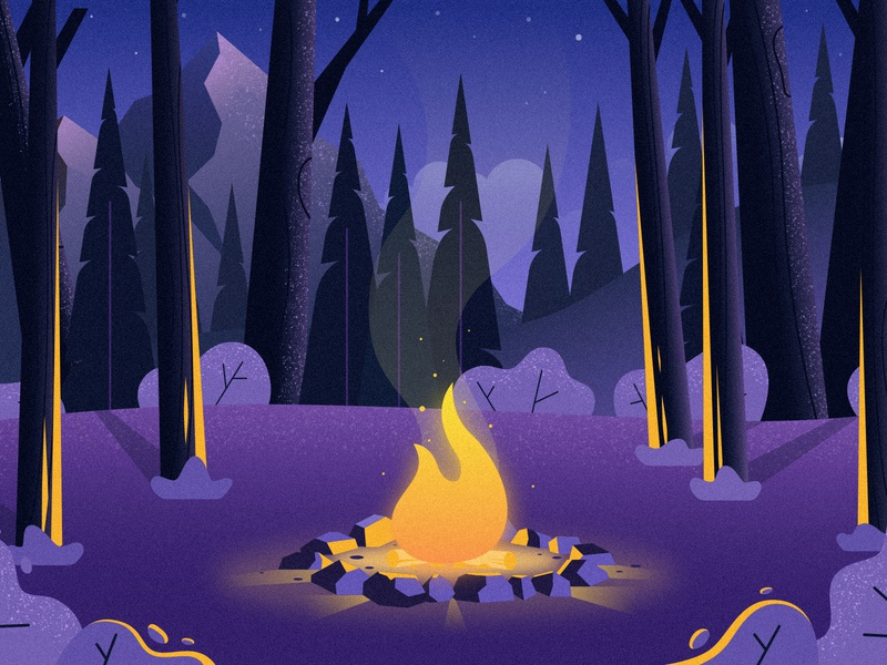 Campfire night woods landscape mountain mountains campfire fire pit wilderness outdoors forest trees fire camping illustration camp