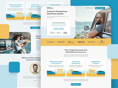 Auto Insurance Companion lead generation lead gen lead form lead form ux ui page landing illustration vehicle auto car insurance