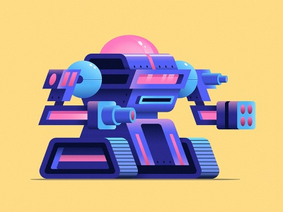 Tank Bot illustrator guns lasers battle robotic bot illustration robot