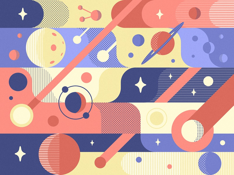 Space Pattern universe orbit pattern flat asteroid comet illustration moon planet