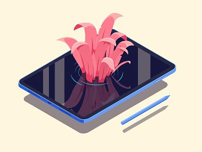 Drawing on the iPad pond water ipad pro isometric illustration grass plants pencil apple ipad