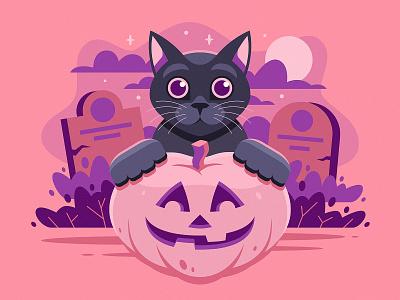 Halloween Kitty bushes headstone grave spooky cemetery halloween illustration kitty cat pumpkin