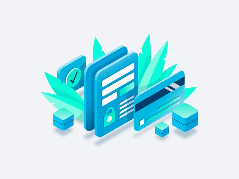 Payment Link lock safe transaction tech plants app finance money card debit credit illustration isometric