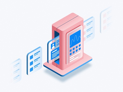Scanner isometric art gradient isometric design info technology tech scanning scanner scan illustration isometric
