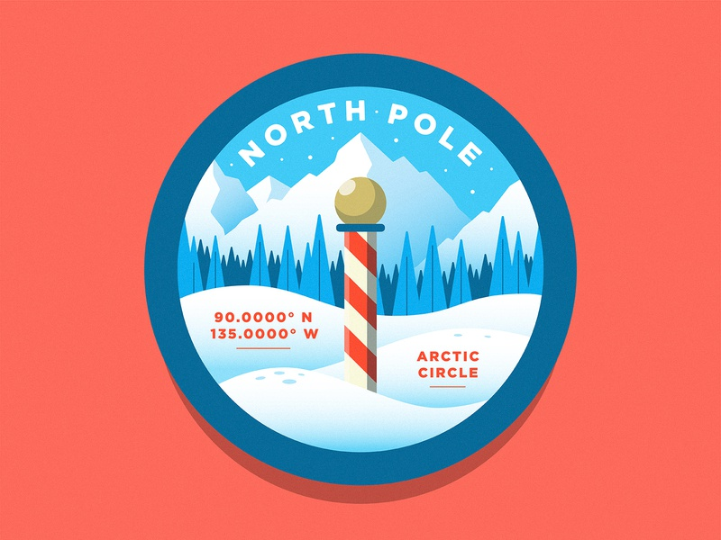 North Pole merry christmas happy holidays illustration patch badge christmas santa pine trees trees snow mountains winter north pole