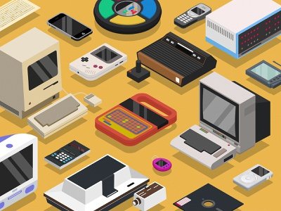 Old Tech Devices altair magnovox simon nintendo gameboy palm pilot floppy disk iphone ipod nokia imac computer device isometric illustration technology tech