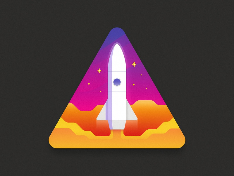 Rocket Badge rocketship take off ship stellar galactic galaxy patch badge illustration outer space stars space