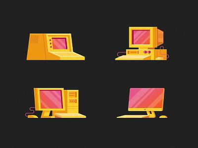 Computer Evolution desktop screen keyboard old monitor screens illustration evolution technology tech computer