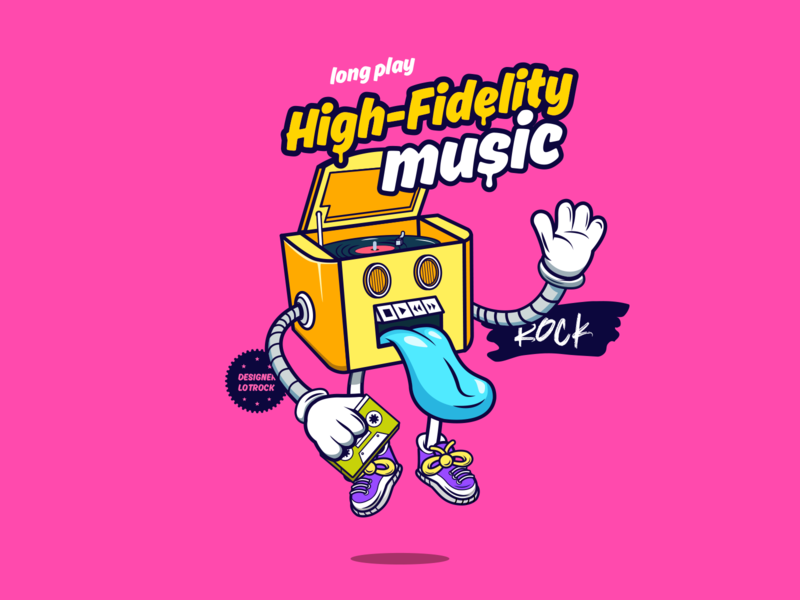 HIFI MUSIC illustraion illustration art redesign lp yellow red purple player music player music color illustration