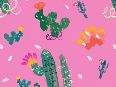 Fiesta Cacti nopal fiesta cactus flower textile watercolor digital cacti illustration pattern