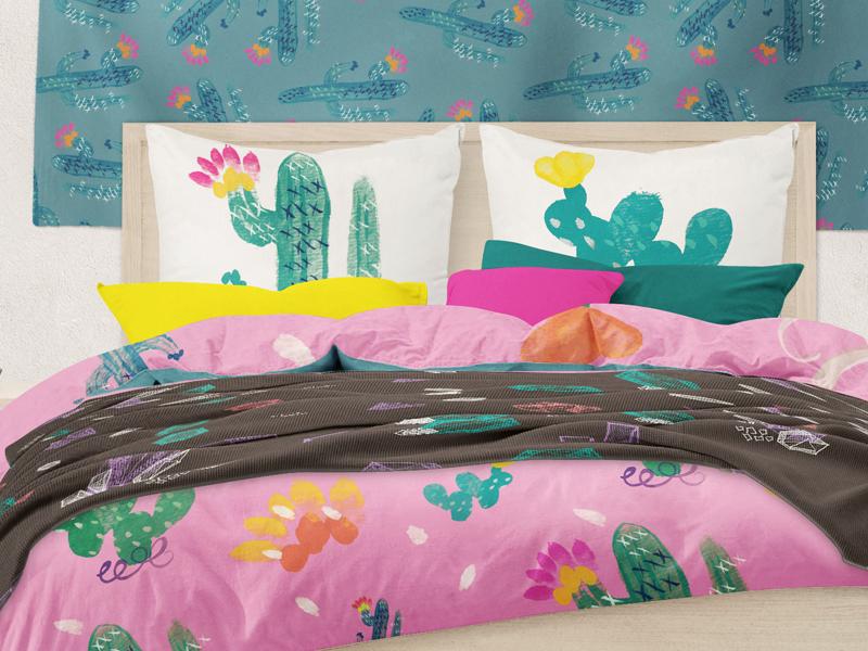 Cacti comforter set watercolor tapestry comforter set pillows design textile flower vector drawing illustration cacti cactus