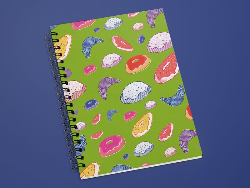 Sweet Notebook sweets notebook watercolor surface pattern surfacedesign pattern pastel illustration gouache flat doughnut donuts dessert color baked goods