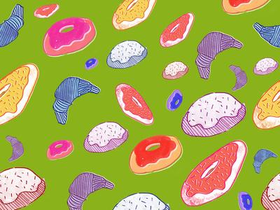 Baked goods swatch flatdesign illustration print watercolor swatches surface pattern design surface design pink pattern pastel motif gouache flat doughnut donut bread dessert colorful color baked goods
