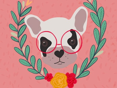 Frenchie milwaukee cute quirky glasses procreate art procreate app digital colorful botanical floral pet portrait pet dog bulldog french bulldog frenchie illustration