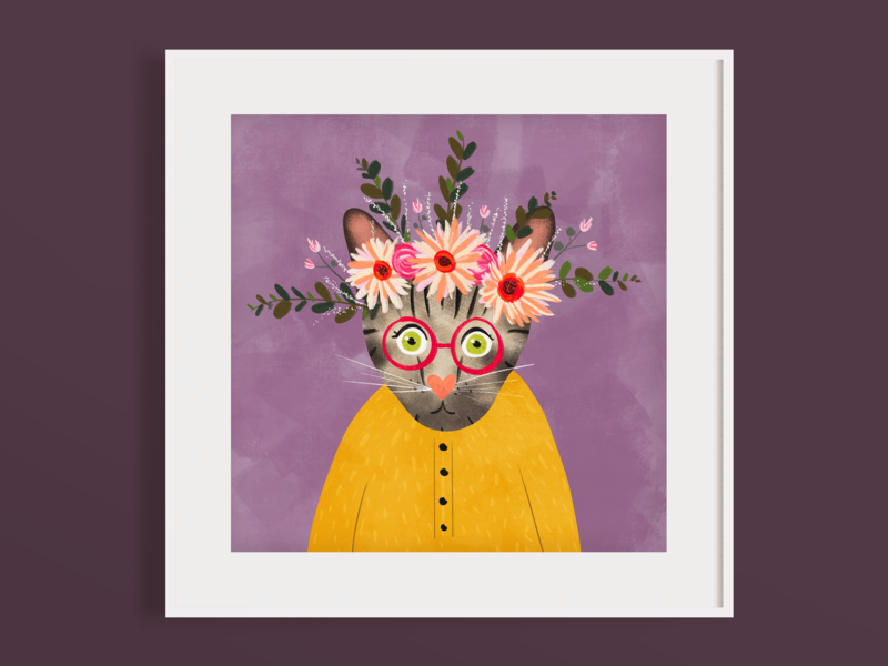 Tabby Portrait with floral crown tabby draw quirky digital art procreateapp milwaukee kitty botanical floral crown illustration flatdesign glasses flat digital colorful cat