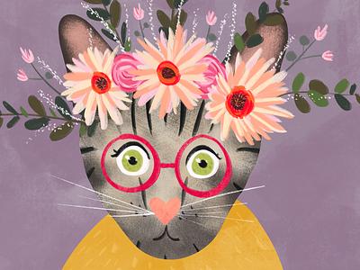 Tabby portrait detail flat pink procreate print digital illustration kitty drawing pet portrait pet portrait cute glasses flowers botanical floral clipart floral crown colorful cat