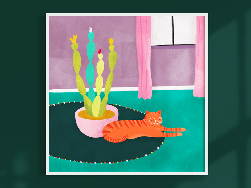 Ginger kitty with cactus flat illustration pink digital print colorful flat drawing procreate quirky cute botanical cactus nopal plant illustration cat kitty