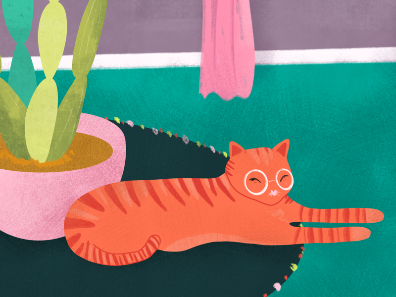 Ginger kitty detail drawing art procreate pink nopal cactus plants kitty cat botanical color milwaukee colorful print digital flat illustration