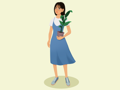 Girl with plant flower character procreate plants girl illustration