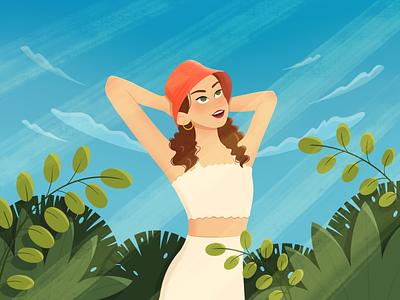 Girl in the sun green sky summer grass sun girl illustration