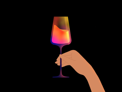 Glass of wine hand cocktail drink wine glass illustration