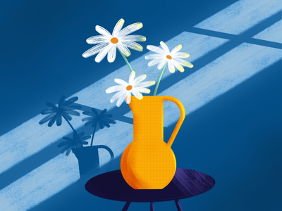 Daisies in a vase blue chamomile daisies in a vase plants flower illustration