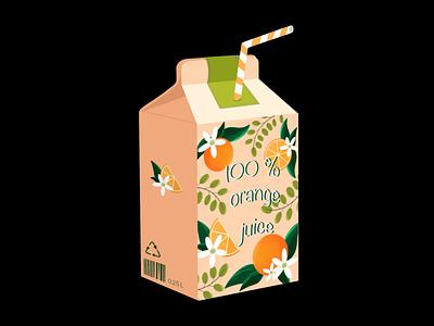 Orange juice flower package juice orange illustration