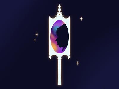 Mirror silhouette profile mirror girl illustration
