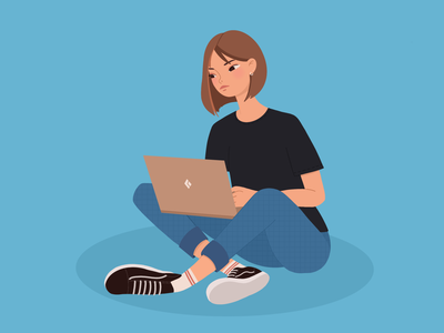 Girl with laptop character work laptop blue girl illustration