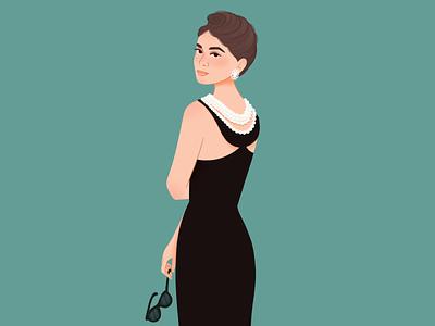 Audrey Hepburn #retroctober2021 60s character retroctober2021 audrey hepburn girl illustration