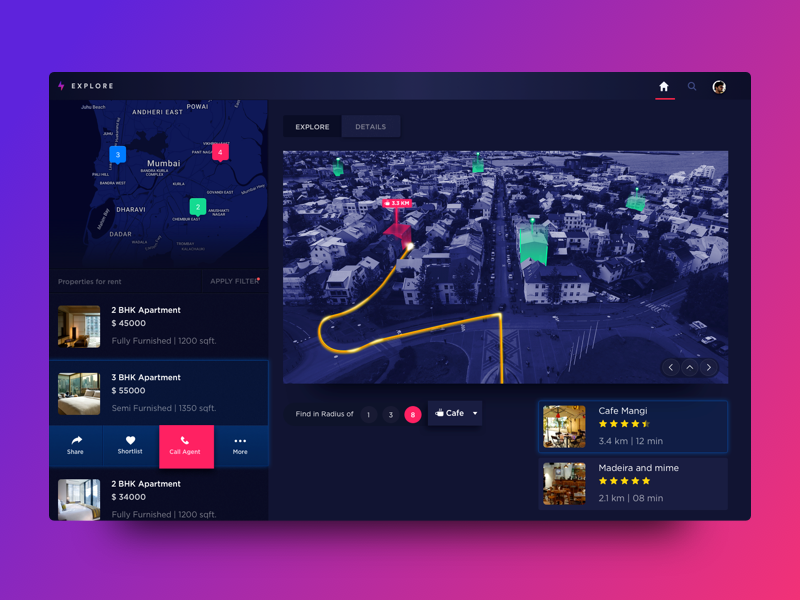 Explore Neighborhood  gif rent design dashboard list 3d map interaction web ux ui dark