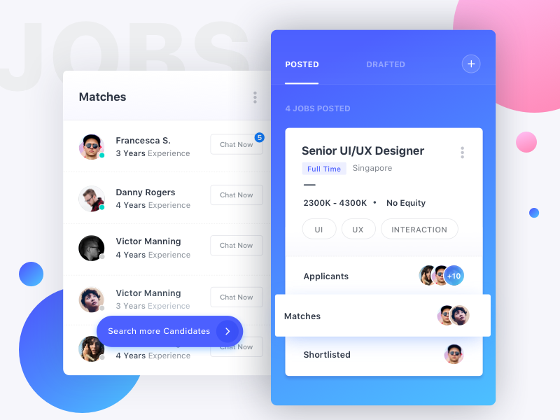 Search Candidates job dashboard hire icon illustration contact post list ux ui mobile