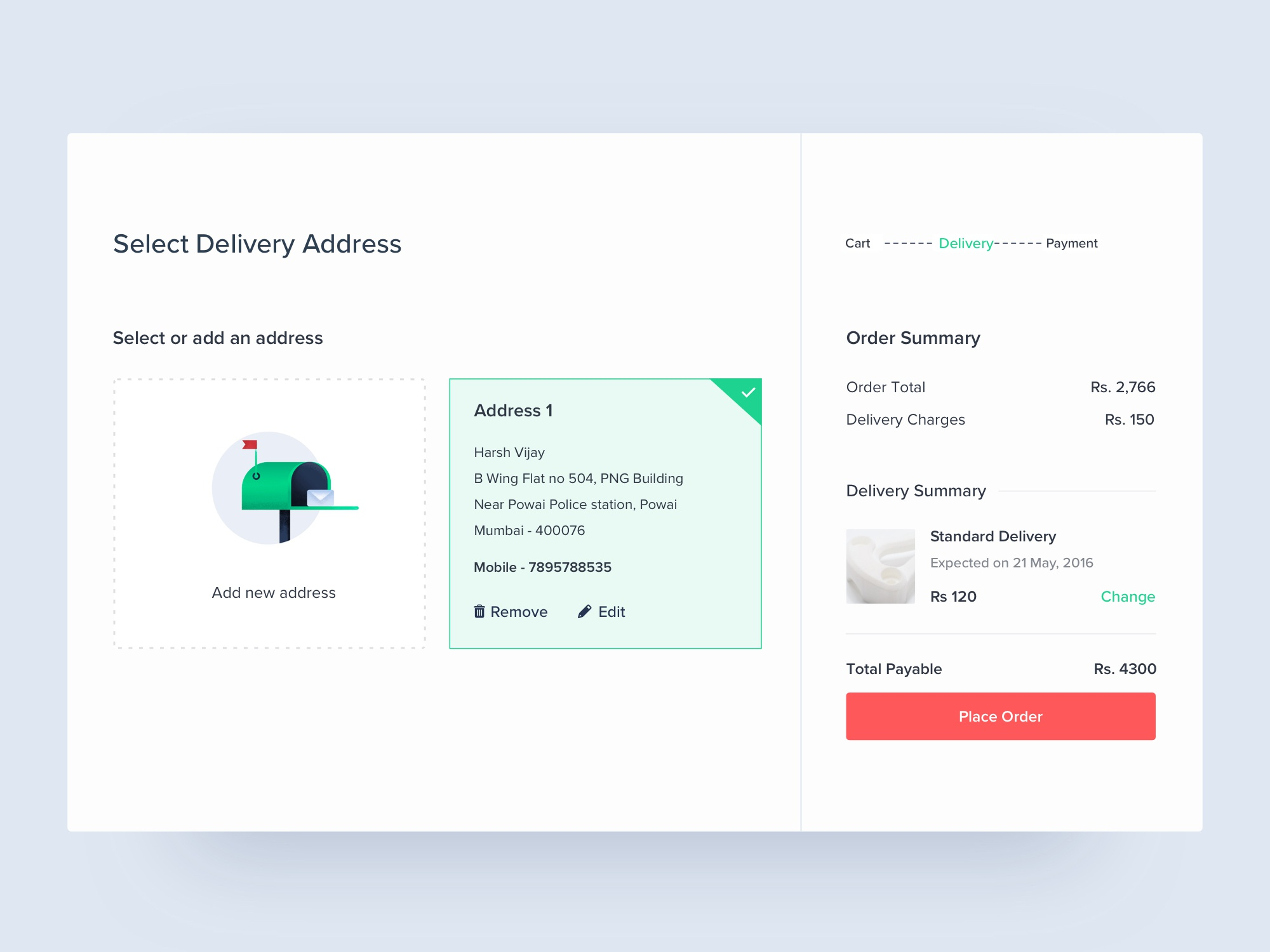 Delivery page dribbble
