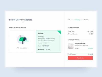 Delivery Page printing 3d order payment new add address illustration design ux ui