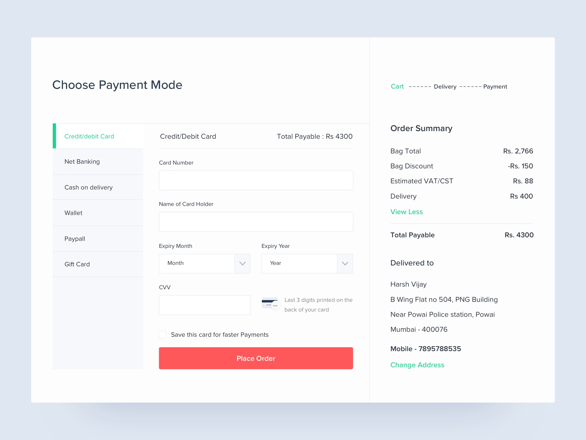 Choose payment mode attachment